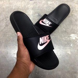 ba4af843a8 Nike Shoes - WMNS NIKE BENASSI SLIDES JUST DO IT JDI BLACK ROSE
